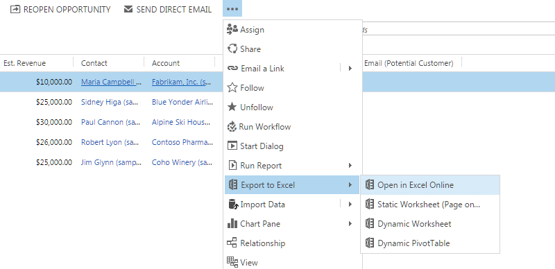 Save your changes in CRM directly from excel online–Dynamics CRM