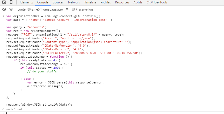 Impersonate a user using the Microsoft Dynamics Web API in