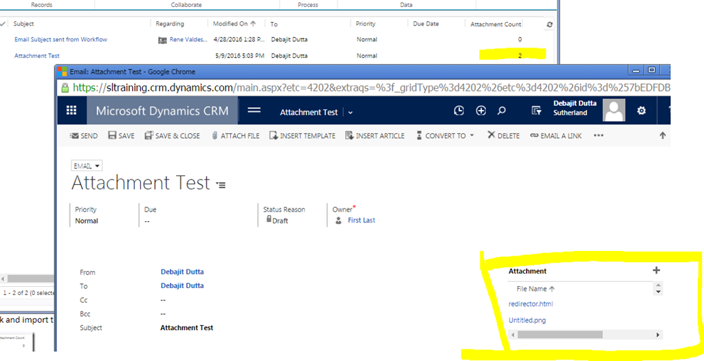 Dynamics 365/ CRM + Email Attachments} Get count of