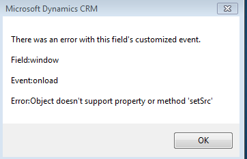 Dynamics CRM + Outlook} Object does not support method or property