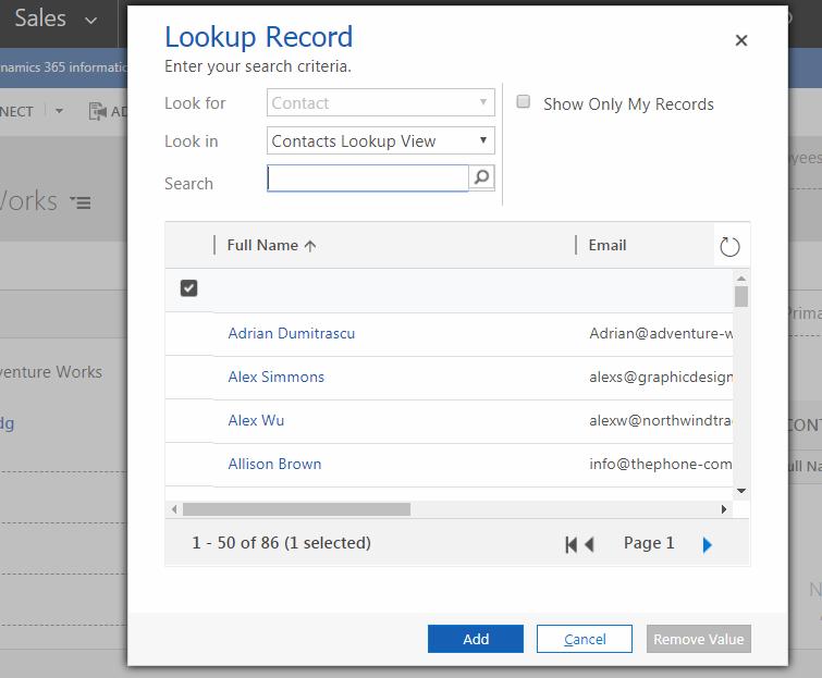 Open Lookup Dialog Programmatically using Xrm Utility–Dynamics V9 0
